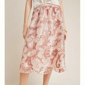 NWT Anthro  Shannon Embroidered Pink Midi Skirt L